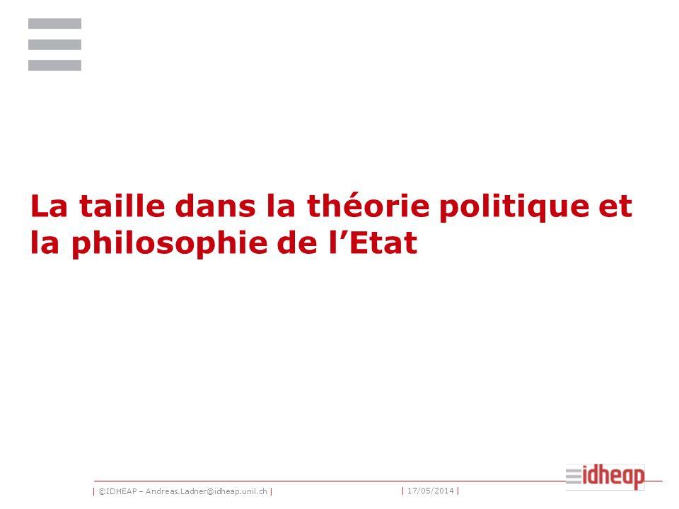 | ©IDHEAP – Andreas.Ladner@idheap.unil.ch | | 17/05/2014 | La taille dans la théorie politique et la philosophie de lEtat