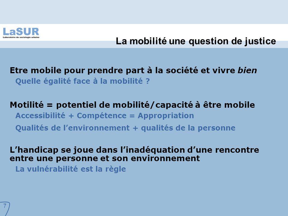 7 La mobilité une question de justice Etre mobile pour prendre part à la société et vivre bien Quelle égalité face à la mobilité .