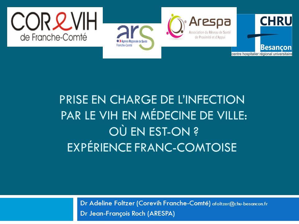 PRISE EN CHARGE DE LINFECTION PAR LE VIH EN MÉDECINE DE VILLE: OÙ EN EST-ON ? EXPÉRIENCE FRANC-COMTOISE Dr Adeline Foltzer (Corevih Franche-Comté) afo