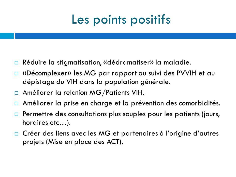 Les points positifs Réduire la stigmatisation, «dédramatiser» la maladie. «Décomplexer» les MG par rapport au suivi des PVVIH et au dépistage du VIH d