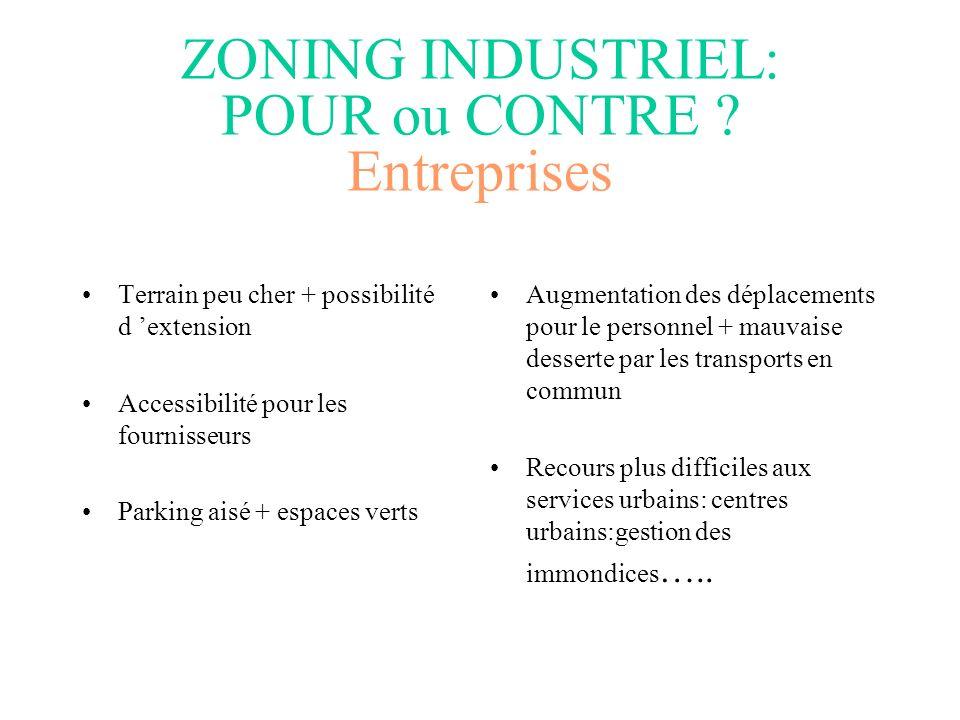 Gestion des externalités négatives –Construction et entretien de réseaux de transport –Equipement de zoning industriel –Protection environnementale