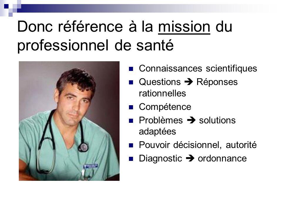 Donc référence à la mission du professionnel de santé Connaissances scientifiques Questions Réponses rationnelles Compétence Problèmes solutions adapt