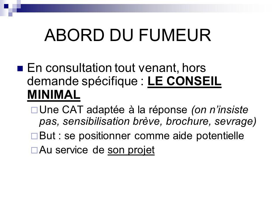 ABORD DU FUMEUR En consultation tout venant, hors demande spécifique : LE CONSEIL MINIMAL Une CAT adaptée à la réponse (on ninsiste pas, sensibilisati
