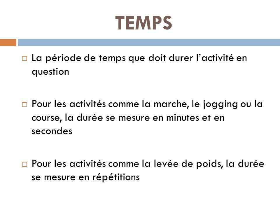 TEMPS La période de temps que doit durer lactivité en question Pour les activités comme la marche, le jogging ou la course, la durée se mesure en minutes et en secondes Pour les activités comme la levée de poids, la durée se mesure en répétitions