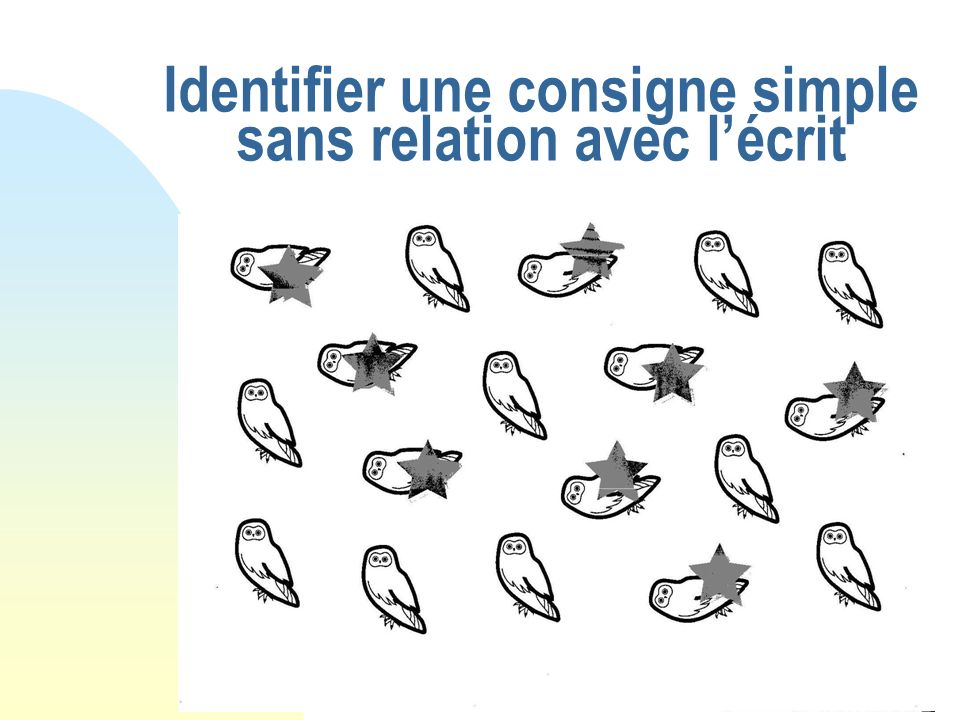 Identifier une consigne simple sans relation avec lécrit