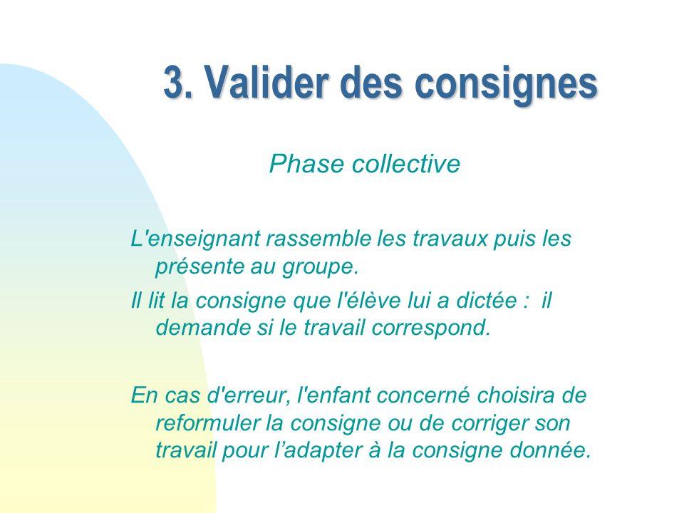 3. Valider des consignes Phase collective L'enseignant rassemble les travaux puis les présente au groupe. Il lit la consigne que l'élève lui a dictée
