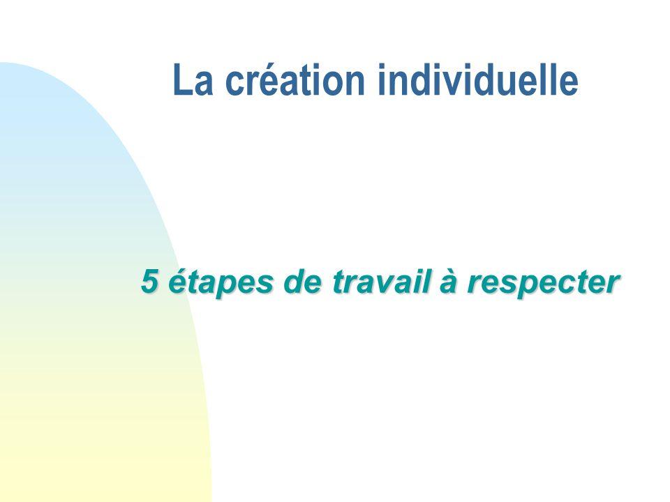 La création individuelle 5 étapes de travail à respecter