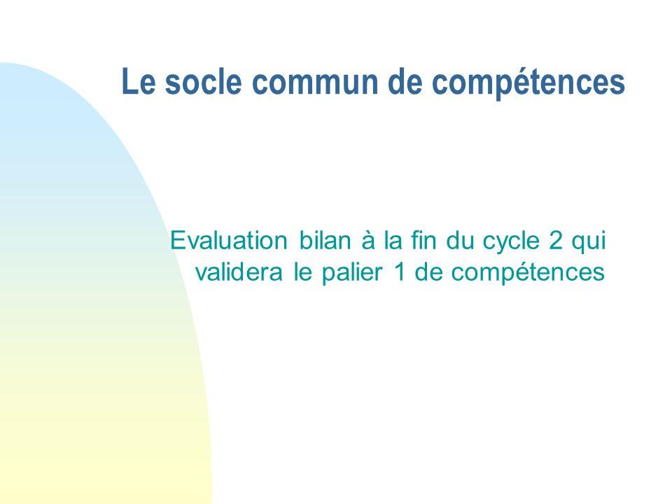 Le socle commun de compétences Evaluation bilan à la fin du cycle 2 qui validera le palier 1 de compétences