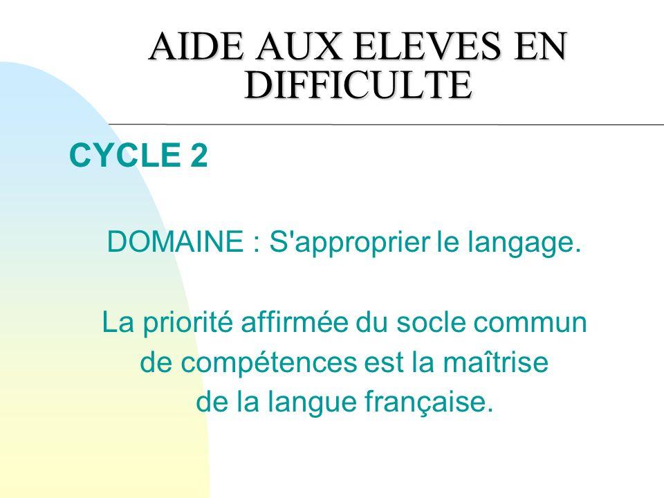 AIDE AUX ELEVES EN DIFFICULTE CYCLE 2 DOMAINE : S approprier le langage.