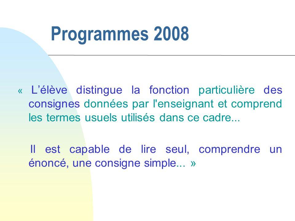 Programmes 2008 « Lélève distingue la fonction particulière des consignes données par l enseignant et comprend les termes usuels utilisés dans ce cadre...
