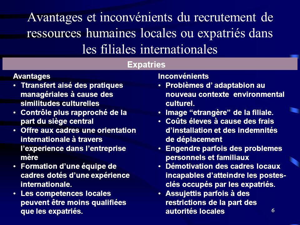 6 Avantages et inconvénients du recrutement de ressources humaines locales ou expatriés dans les filiales internationales Expatries Avantages Ttransfe