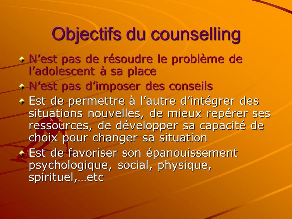 Ce que le counselling est: Un entretien daide Une relation dans laquelle un(e) adolescent(e) sera assisté(e) pour opérer son ajustement personnel à un