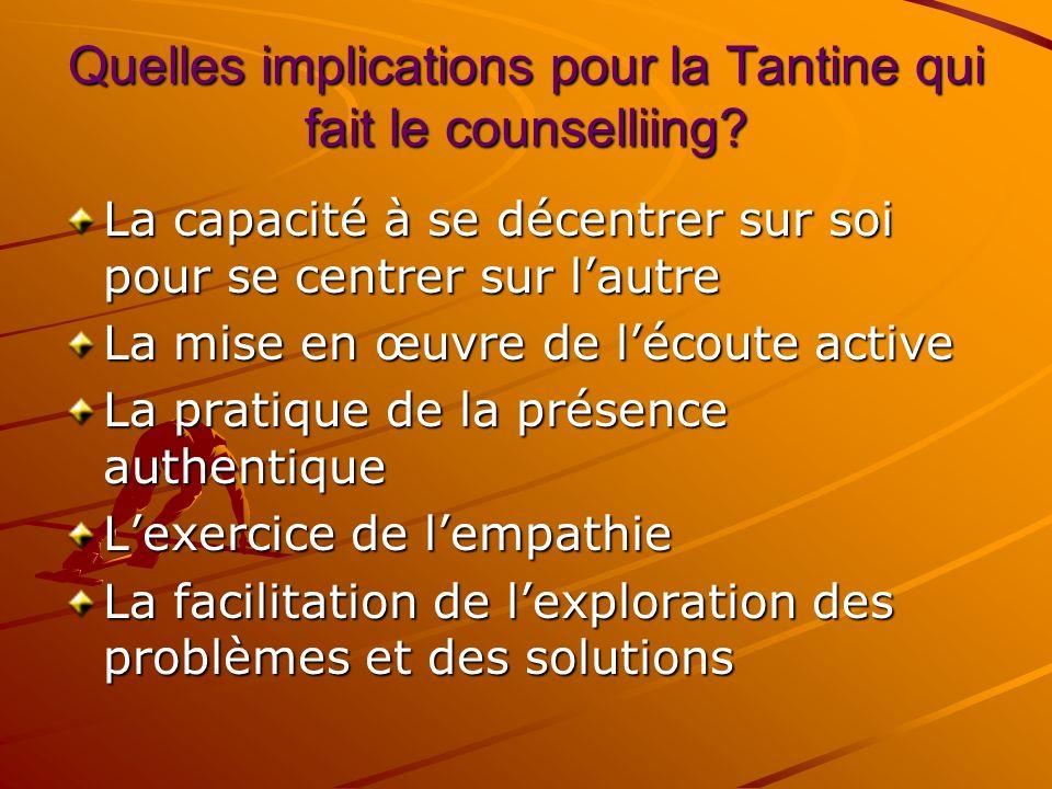 Counselling de ladolescent La tantine: aideguideoriente ladolescent(e) à trouver lui/elle-même les solutions aux problèmes quil/elle rencontre. Ladole