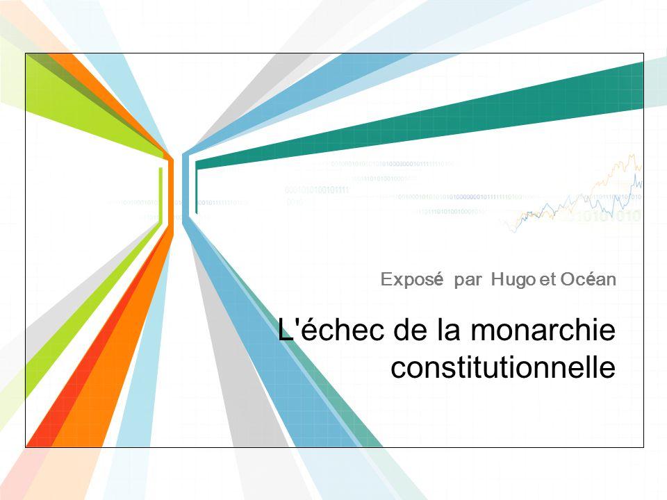 L'échec de la monarchie constitutionnelle Exposé par Hugo et Océan