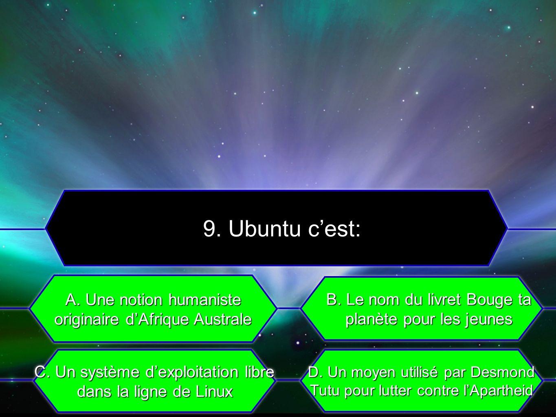 C. Un système dexploitation libre dans la ligne de Linux A. Une notion humaniste originaire dAfrique Australe B. Le nom du livret Bouge ta planète pou