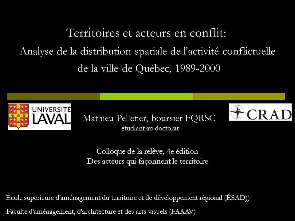 Territoires et acteurs en conflit: Analyse de la distribution spatiale de l'activité conflictuelle de la ville de Québec, 1989-2000 Mathieu Pelletier,