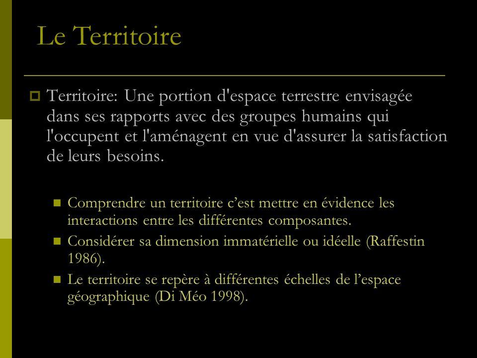 Territoire: Une portion d'espace terrestre envisagée dans ses rapports avec des groupes humains qui l'occupent et l'aménagent en vue d'assurer la sati