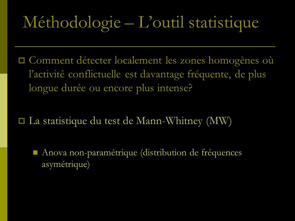 Comment détecter localement les zones homogènes où lactivité conflictuelle est davantage fréquente, de plus longue durée ou encore plus intense? La st