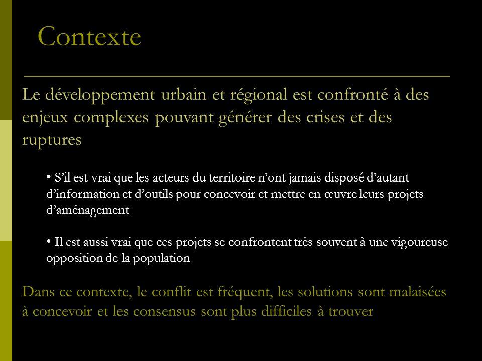 Le développement urbain et régional est confronté à des enjeux complexes pouvant générer des crises et des ruptures Sil est vrai que les acteurs du te