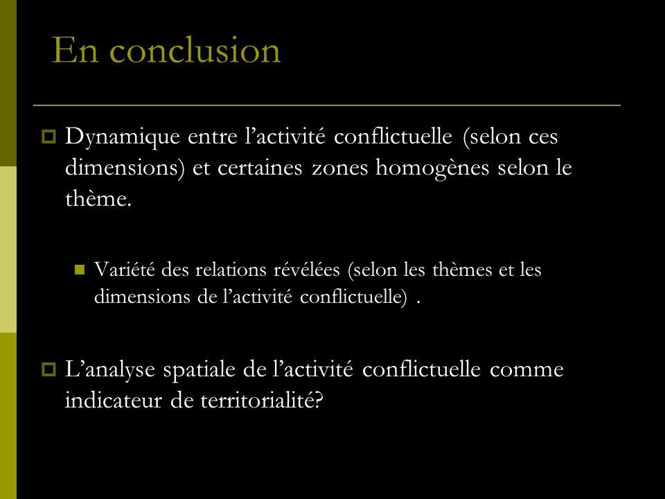 Dynamique entre lactivité conflictuelle (selon ces dimensions) et certaines zones homogènes selon le thème. Variété des relations révélées (selon les