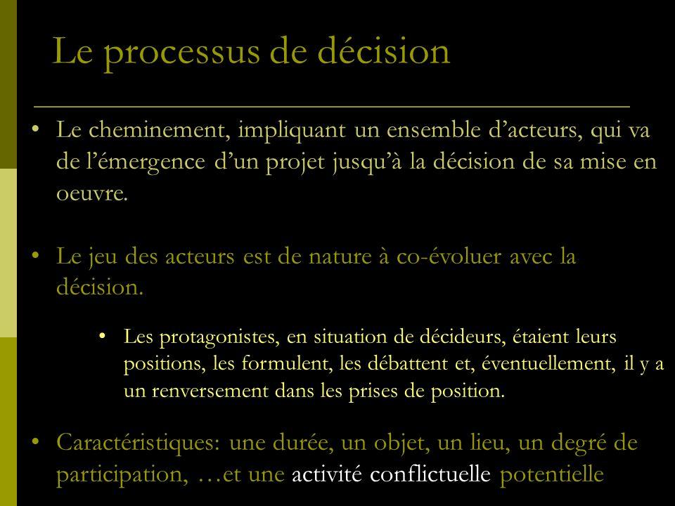 Le processus de décision Le cheminement, impliquant un ensemble dacteurs, qui va de lémergence dun projet jusquà la décision de sa mise en oeuvre. Le