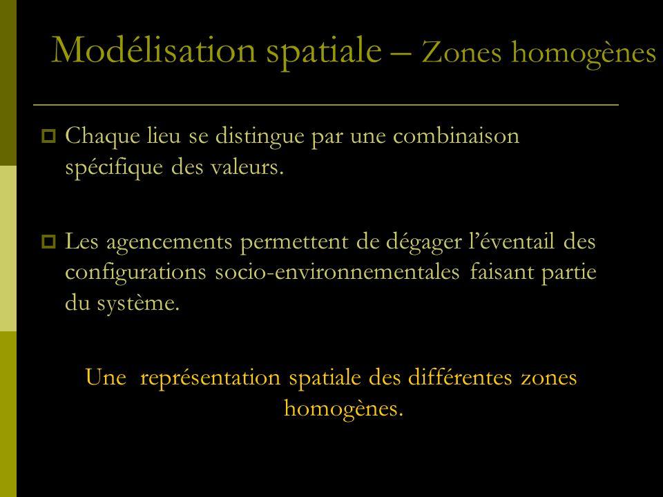 Chaque lieu se distingue par une combinaison spécifique des valeurs. Les agencements permettent de dégager léventail des configurations socio-environn