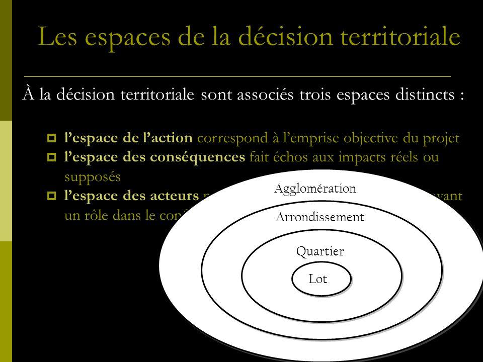 Les espaces de la décision territoriale À la décision territoriale sont associés trois espaces distincts : lespace de laction correspond à lemprise ob