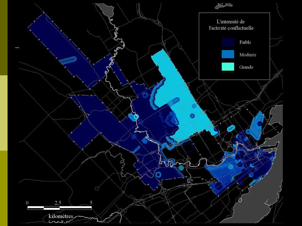 Dynamique entre lactivité conflictuelle (selon ces dimensions) et certaines zones homogènes selon le thème.