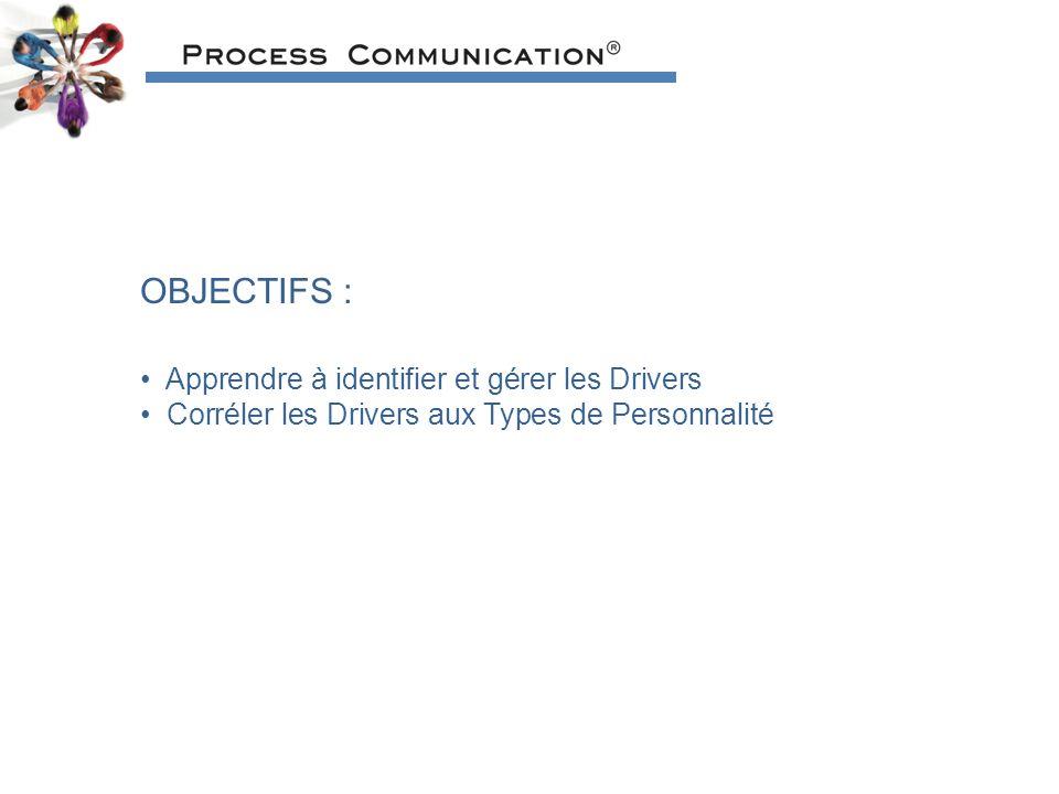 OBJECTIFS : Apprendre à identifier et gérer les Drivers Corréler les Drivers aux Types de Personnalité