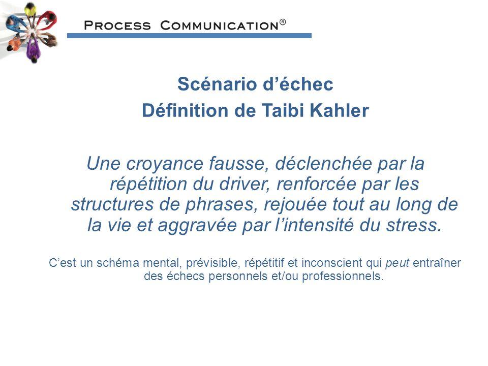 Scénario déchec Définition de Taibi Kahler Une croyance fausse, déclenchée par la répétition du driver, renforcée par les structures de phrases, rejouée tout au long de la vie et aggravée par lintensité du stress.
