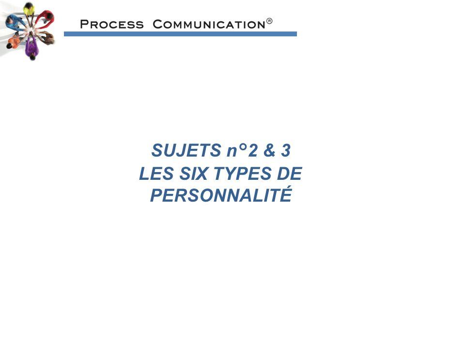 SUJETS n°2 & 3 LES SIX TYPES DE PERSONNALITÉ