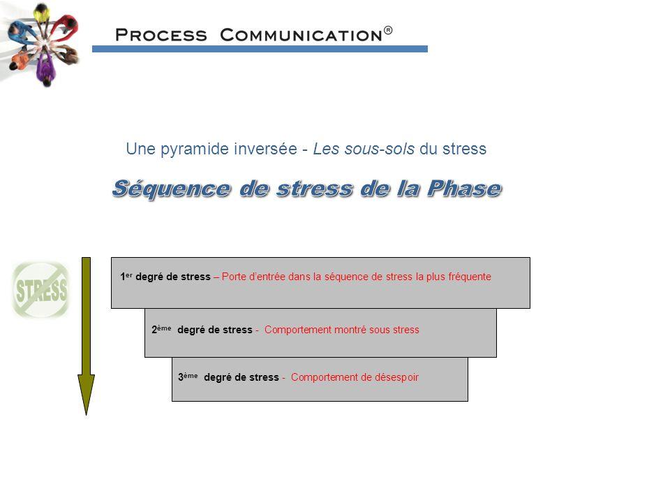 Une pyramide inversée - Les sous-sols du stress 1 er degré de stress – Porte dentrée dans la séquence de stress la plus fréquente 2 ème degré de stress - Comportement montré sous stress 3 ème degré de stress - Comportement de désespoir