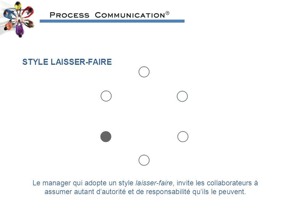 STYLE LAISSER-FAIRE Le manager qui adopte un style laisser-faire, invite les collaborateurs à assumer autant dautorité et de responsabilité quils le peuvent.