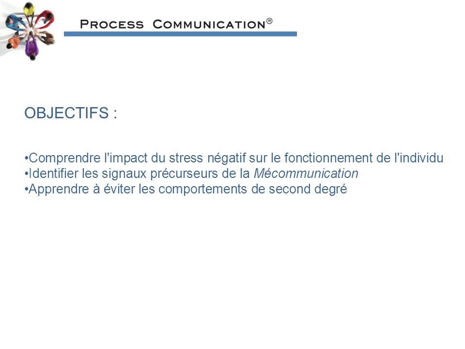 OBJECTIFS : Comprendre l impact du stress négatif sur le fonctionnement de l individu Identifier les signaux précurseurs de la Mécommunication Apprendre à éviter les comportements de second degré