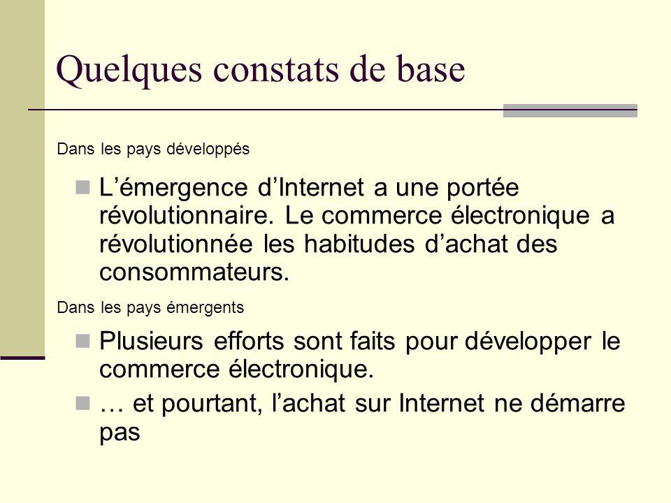 Quelques constats de base Lémergence dInternet a une portée révolutionnaire. Le commerce électronique a révolutionnée les habitudes dachat des consomm