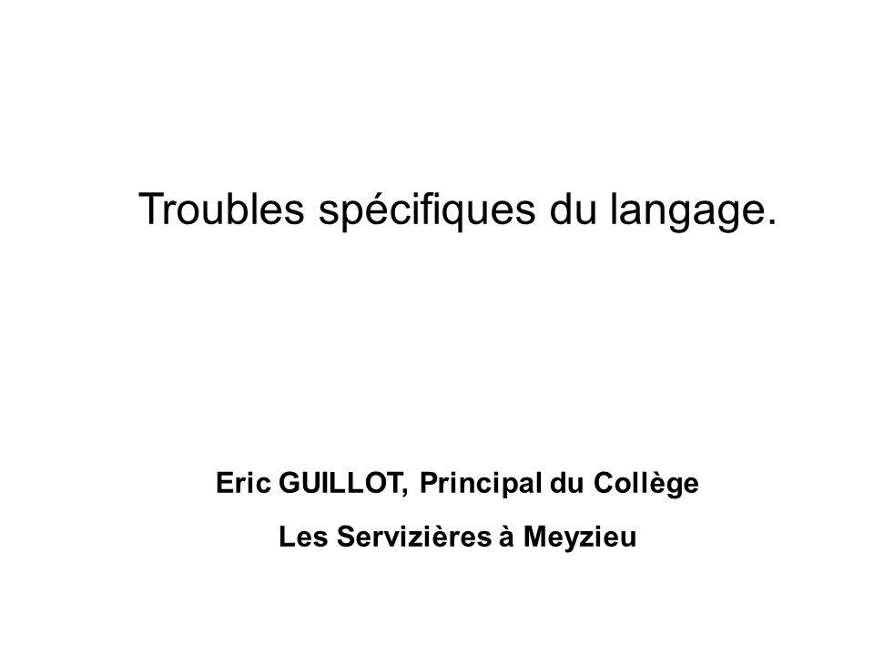 Troubles spécifiques du langage. Eric GUILLOT, Principal du Collège Les Servizières à Meyzieu