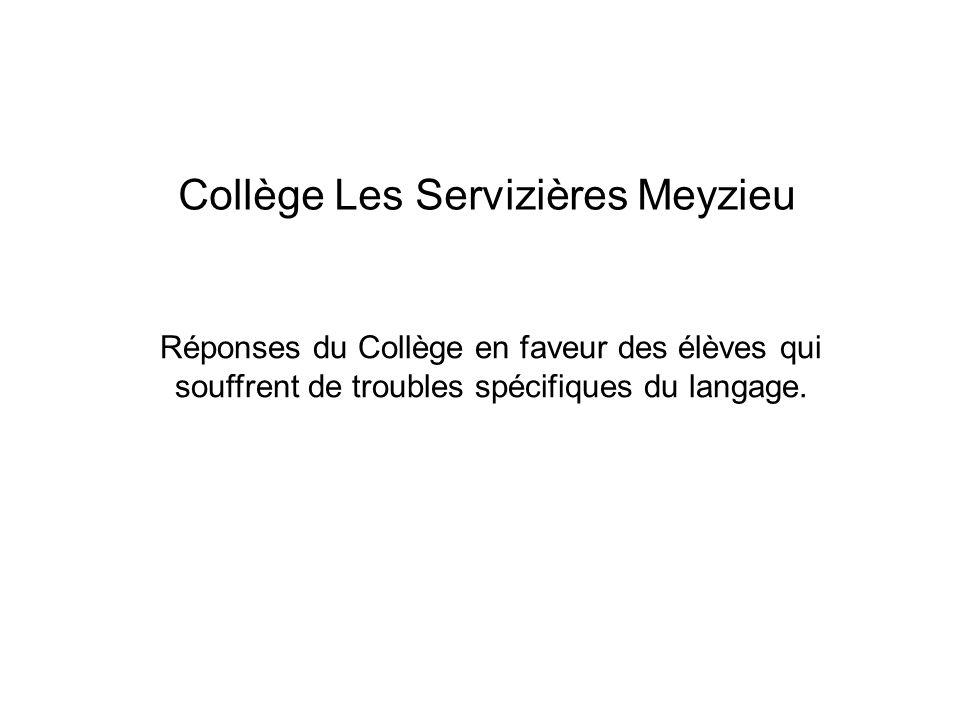 Collège Les Servizières Meyzieu Réponses du Collège en faveur des élèves qui souffrent de troubles spécifiques du langage.
