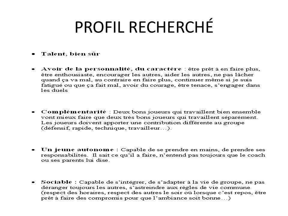 PROFIL RECHERCHÉ