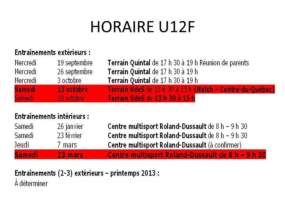 HORAIRE U12F
