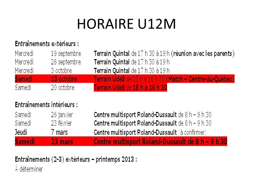 HORAIRE U12M
