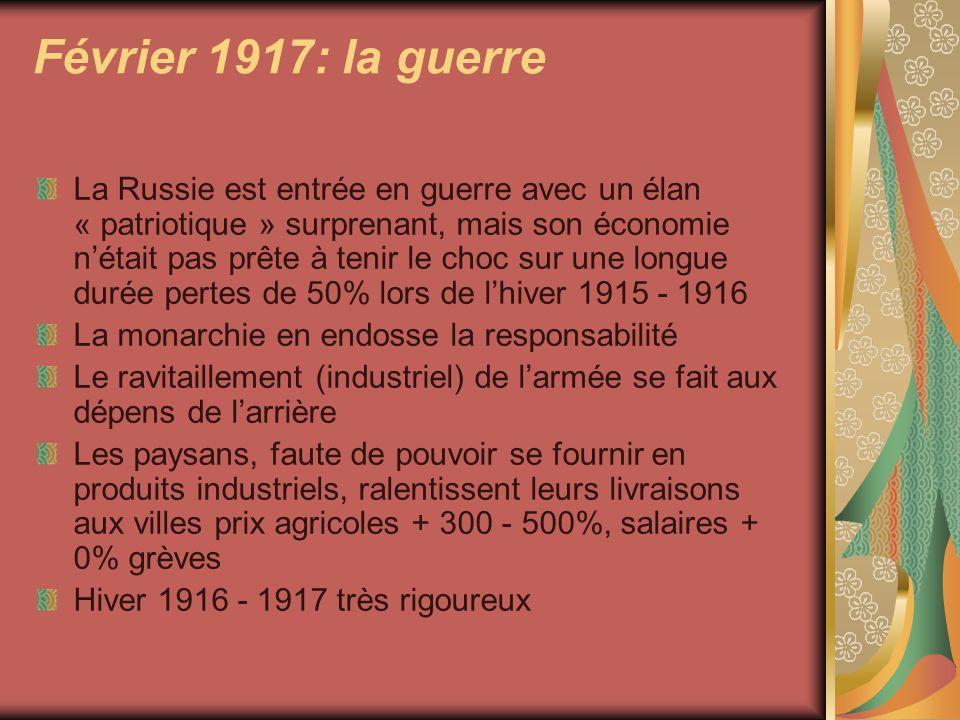 Février 1917: la guerre La Russie est entrée en guerre avec un élan « patriotique » surprenant, mais son économie nétait pas prête à tenir le choc sur