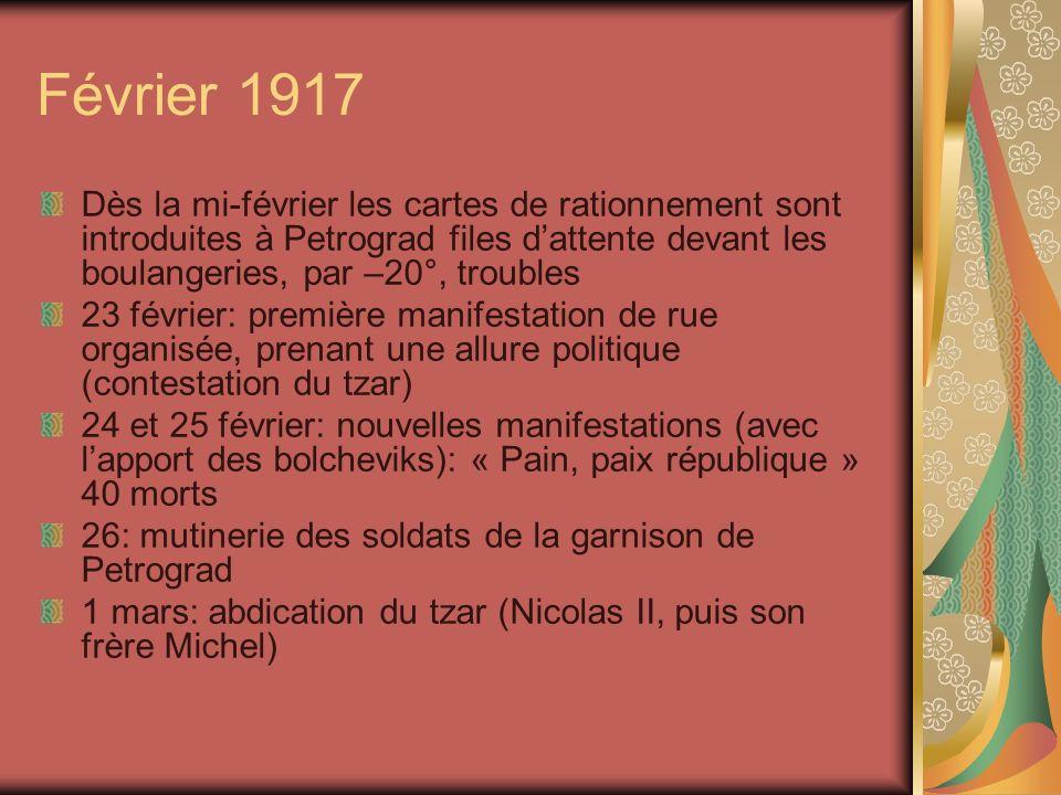Février 1917 Dès la mi-février les cartes de rationnement sont introduites à Petrograd files dattente devant les boulangeries, par –20°, troubles 23 f