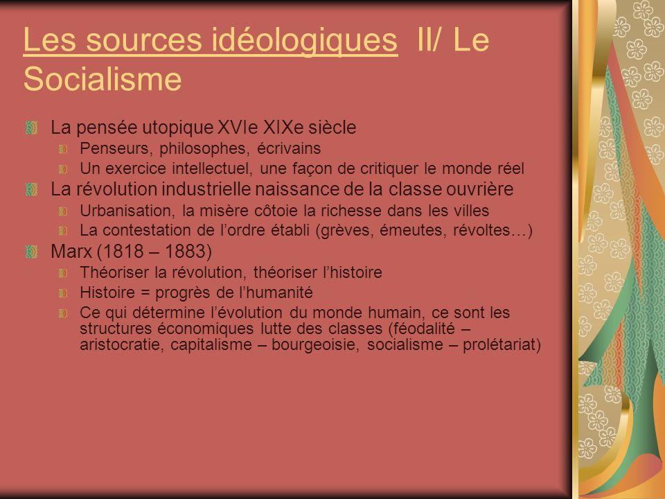 Les sources idéologiques II/ Le Socialisme La pensée utopique XVIe XIXe siècle Penseurs, philosophes, écrivains Un exercice intellectuel, une façon de