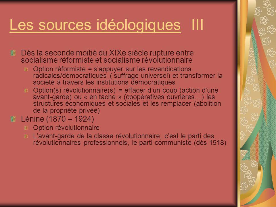 Les sources idéologiques III Dès la seconde moitié du XIXe siècle rupture entre socialisme réformiste et socialisme révolutionnaire Option réformiste