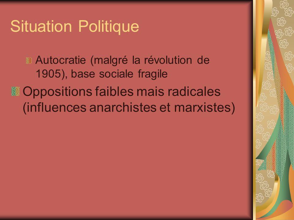 Situation Politique Autocratie (malgré la révolution de 1905), base sociale fragile Oppositions faibles mais radicales (influences anarchistes et marx