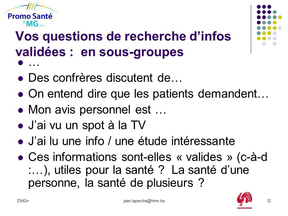 DMG+jean.laperche@fmm.be12 Vos questions de recherche dinfos validées : en sous-groupes … Des confrères discutent de… On entend dire que les patients