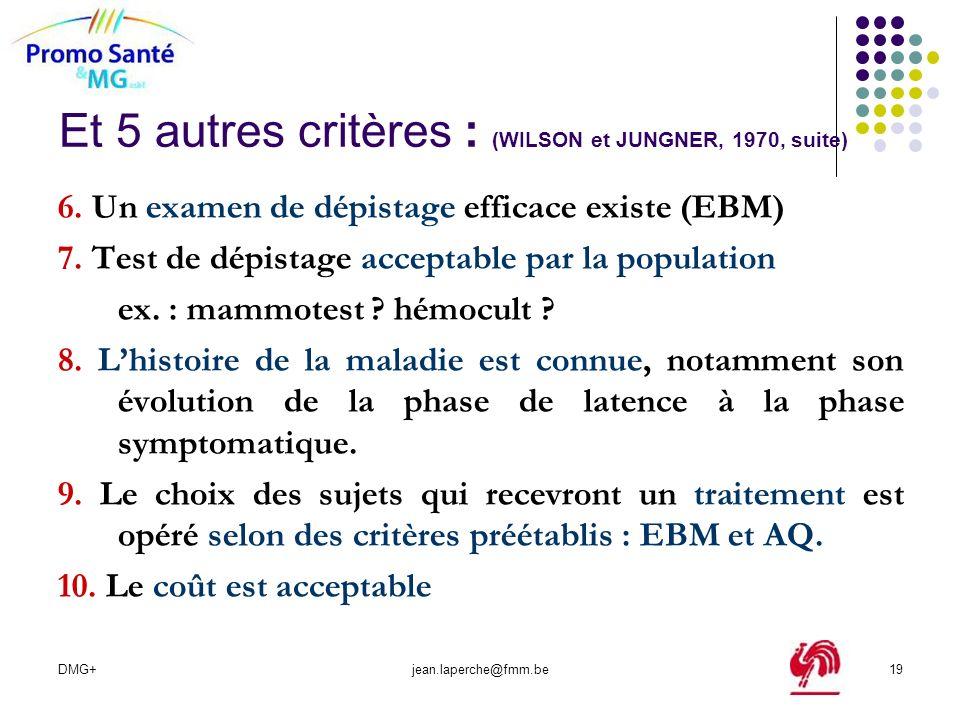 DMG+jean.laperche@fmm.be19 Et 5 autres critères : (WILSON et JUNGNER, 1970, suite) 6. Un examen de dépistage efficace existe (EBM) 7. Test de dépistag