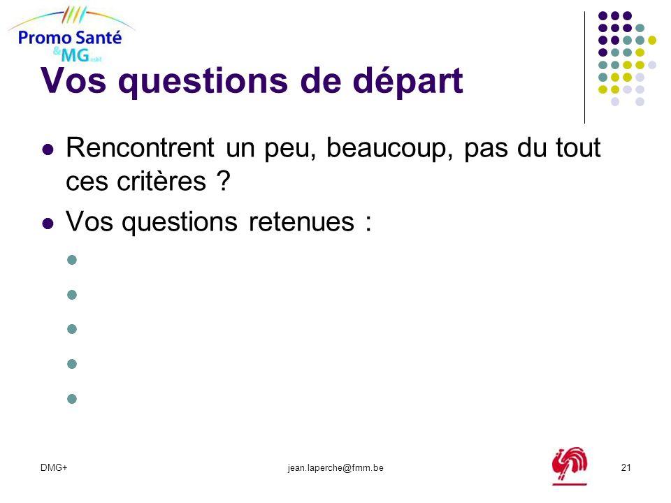 DMG+jean.laperche@fmm.be21 Vos questions de départ Rencontrent un peu, beaucoup, pas du tout ces critères ? Vos questions retenues :
