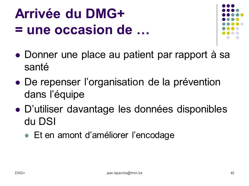 DMG+jean.laperche@fmm.be40 Arrivée du DMG+ = une occasion de … Donner une place au patient par rapport à sa santé De repenser lorganisation de la prév