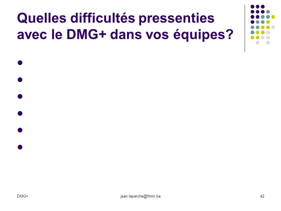 DMG+jean.laperche@fmm.be42 Quelles difficultés pressenties avec le DMG+ dans vos équipes?